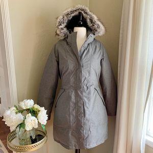 North Face Arctic Parka Down Fur Trim Hood Gray